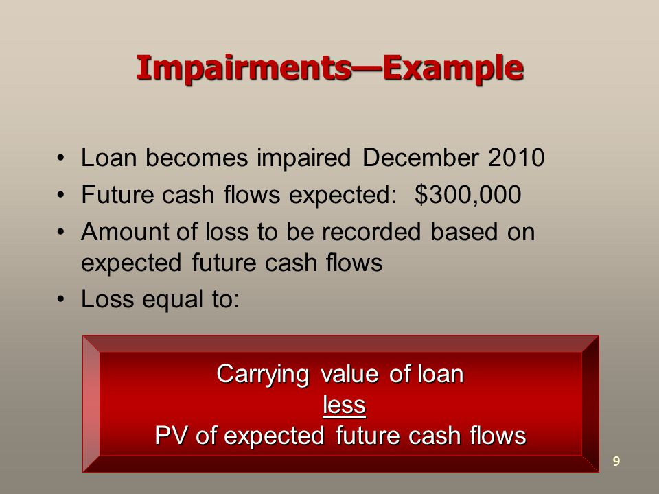 9 Impairments—Example Loan becomes impaired December 2010 Future cash flows expected: $300,000 Amount of loss to be recorded based on expected future cash flows Loss equal to: Carrying value of loan less less PV of expected future cash flows