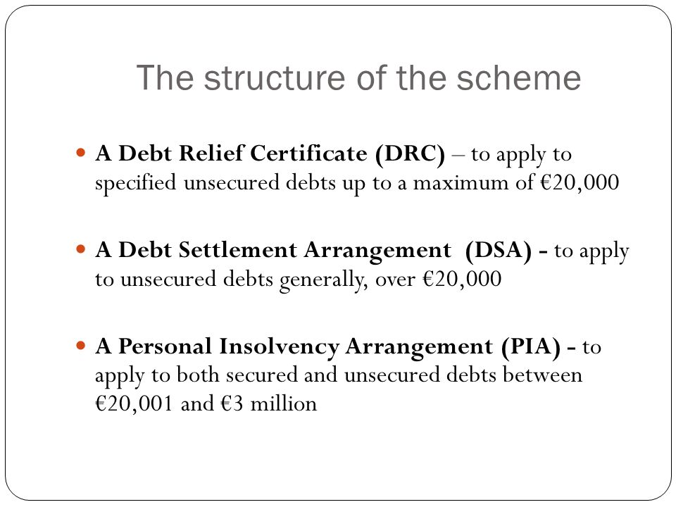 The structure of the scheme An application for Bankruptcy For a creditor's application, a debt of at least €20,001 must be owed.