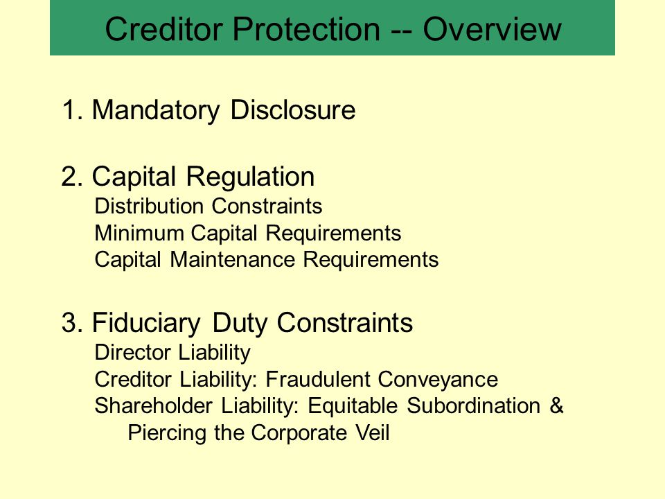 Creditor Protection -- Overview 1. Mandatory Disclosure 2.