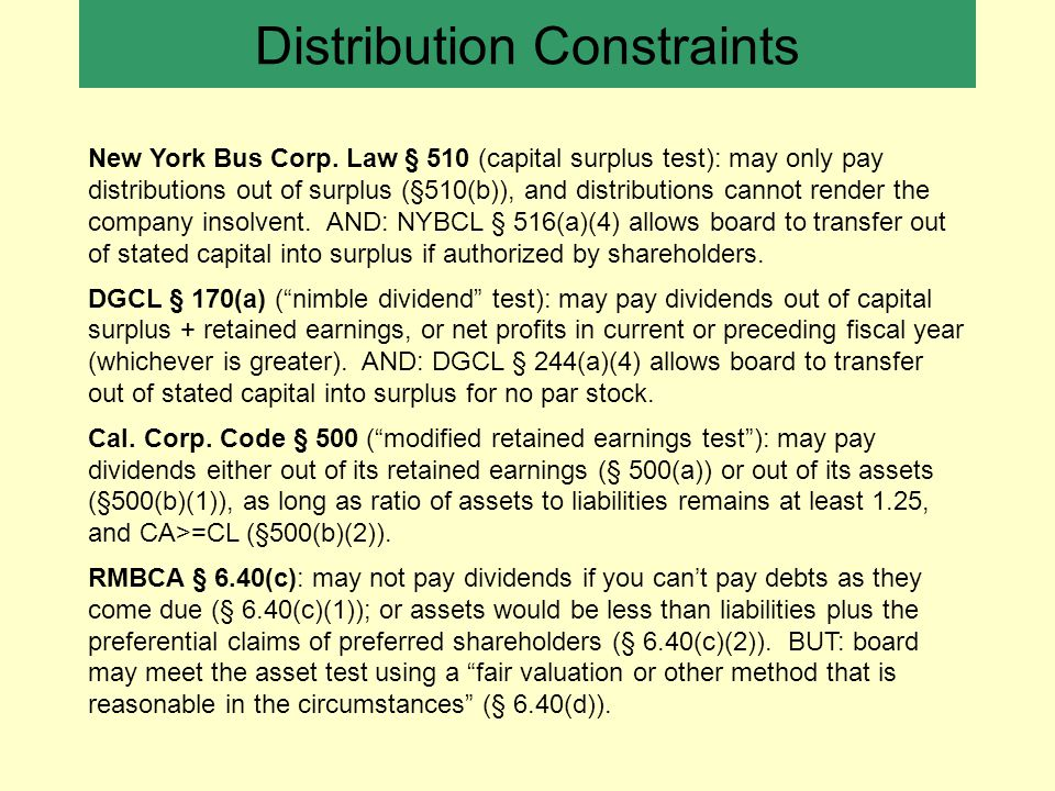 Distribution Constraints New York Bus Corp.