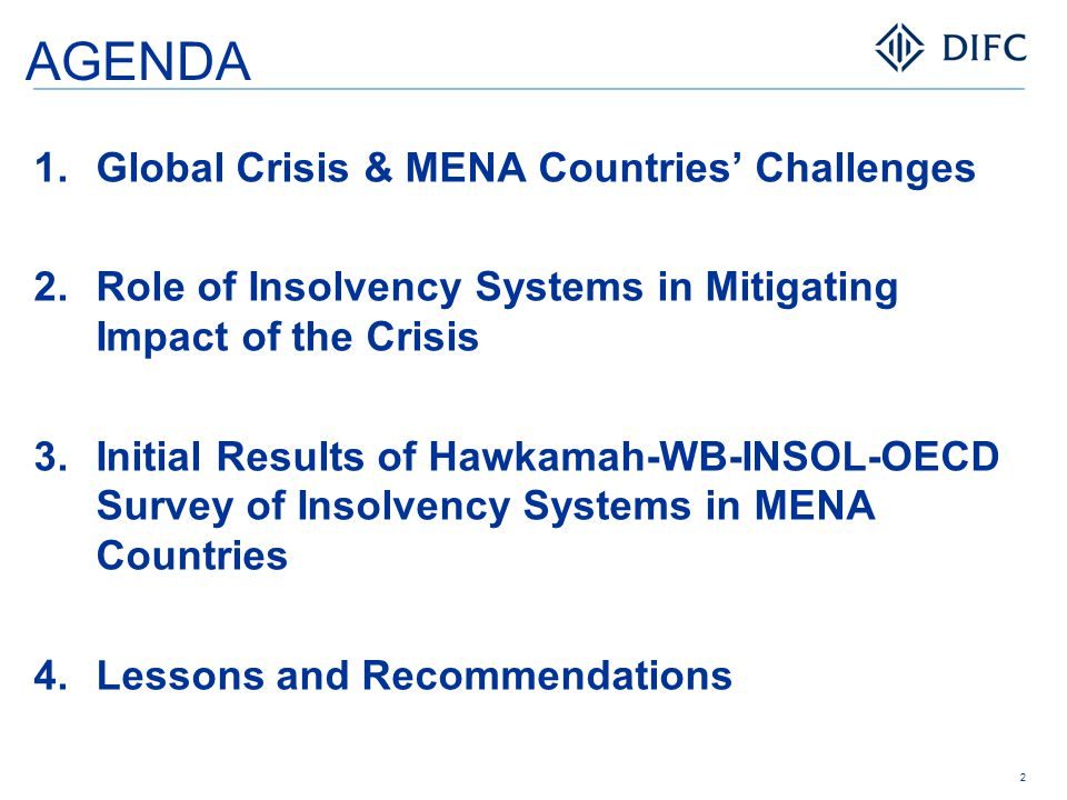 AGENDA  Global Crisis & MENA Countries' Challenges  Role of Insolvency Systems in Mitigating Impact of the Crisis  Initial Results of Hawkamah-W