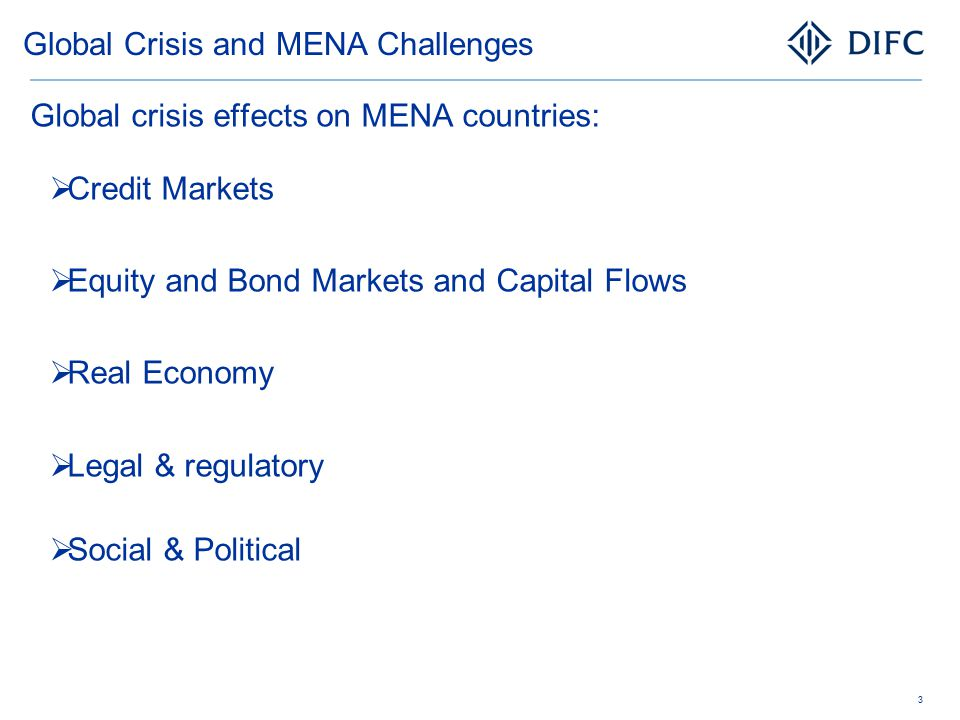 Global Crisis and MENA Challenges Global crisis effects on MENA countries:  Credit Markets  Equity and Bond Markets and Capital Flows  Real Economy