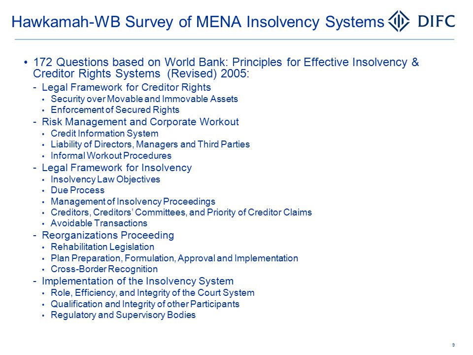 Hawkamah-WB Survey of MENA Insolvency Systems 172 Questions based on World Bank: Principles for Effective Insolvency & Creditor Rights Systems (Revise