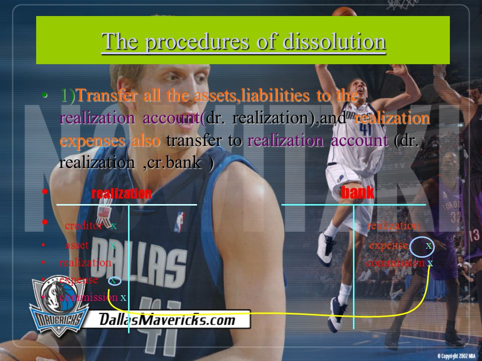 The procedures of dissolution The procedures of dissolution 1)Transfer all the assets,liabilities to the realization account(dr.