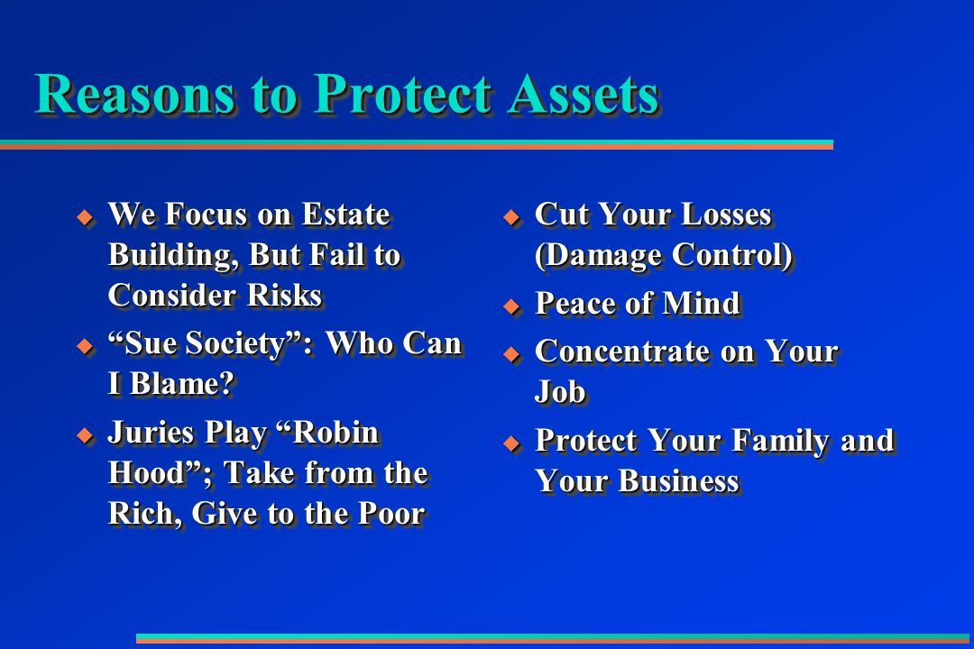 Reasons to Protect Assets  We Focus on Estate Building, But Fail to Consider Risks  Sue Society : Who Can I Blame.