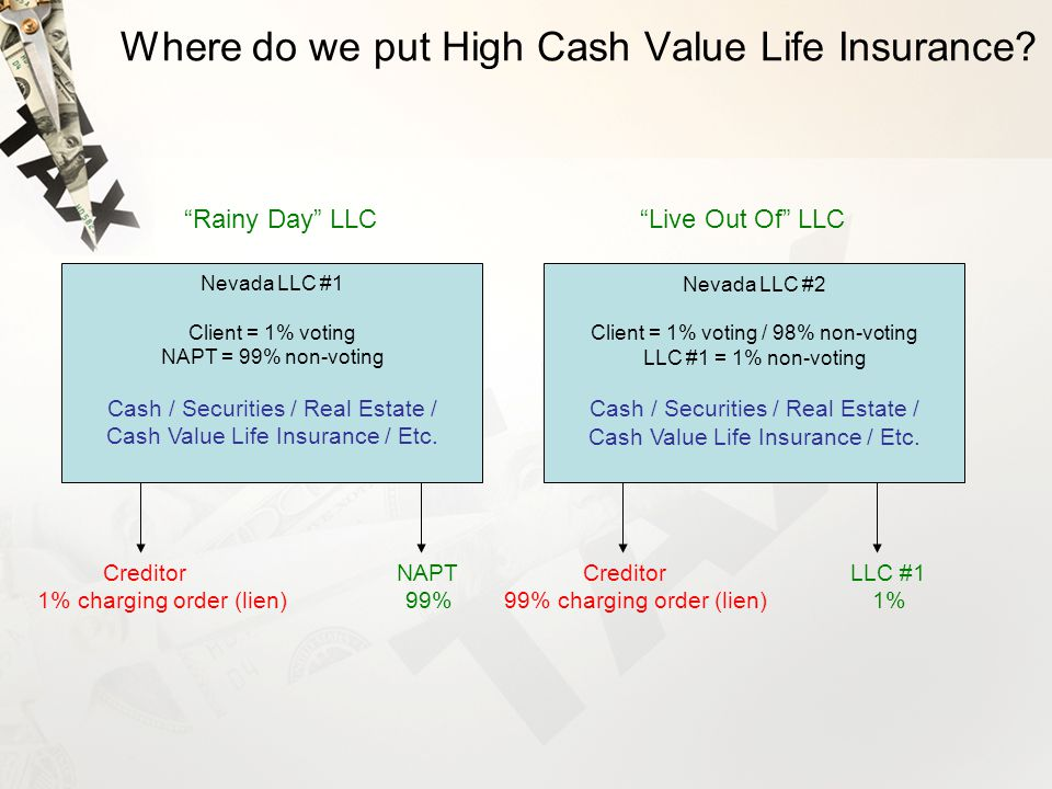 Where do we put High Cash Value Life Insurance.