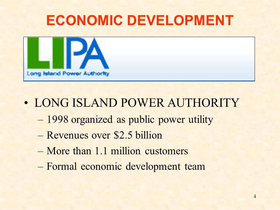4 ECONOMIC DEVELOPMENT LONG ISLAND POWER AUTHORITY –1998 organized as public power utility –Revenues over $2.5 billion –More than 1.1 million customers –Formal economic development team
