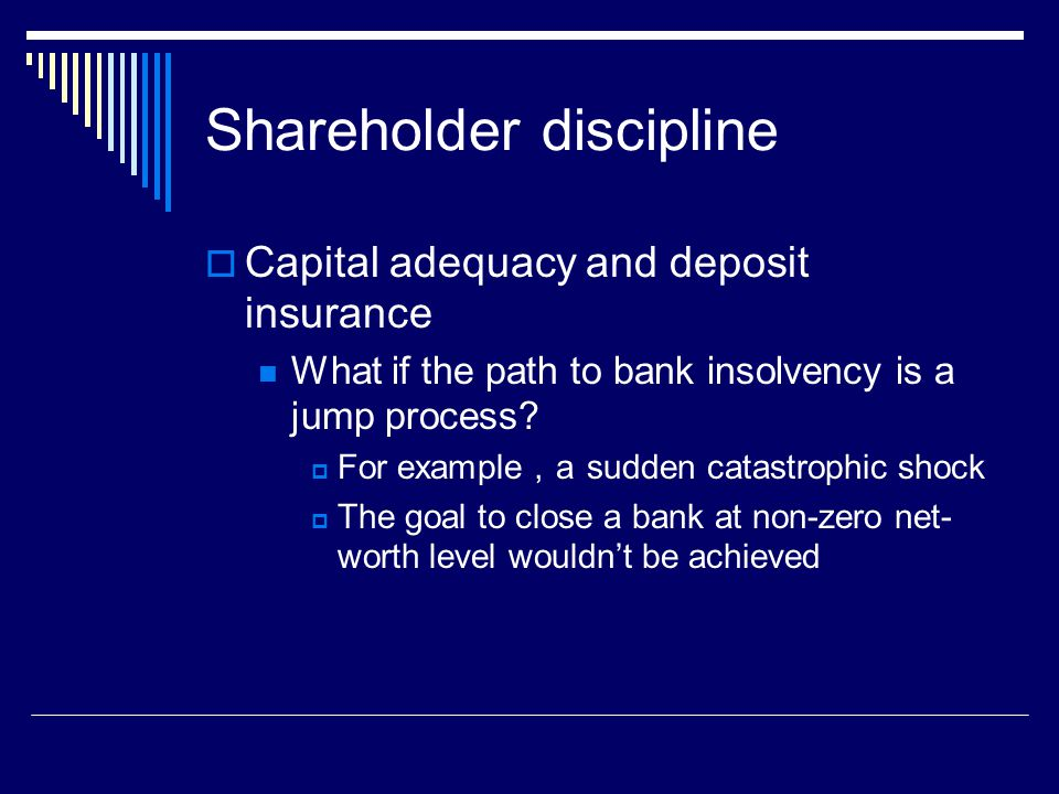 Shareholder discipline  Capital adequacy and deposit insurance What if the path to bank insolvency is a jump process.
