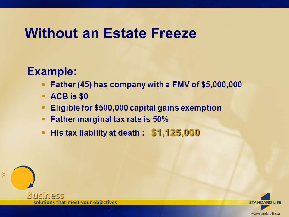 2004 Without an Estate Freeze Example:  Father (45) has company with a FMV of $5,000,000  ACB is $0  Eligible for $500,000 capital gains exemption