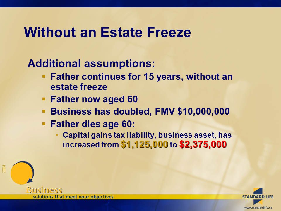 2004 Additional assumptions:  Father continues for 15 years, without an estate freeze  Father now aged 60  Business has doubled, FMV $10,000,000 