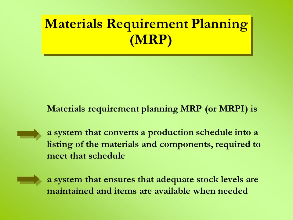 Materials requirement planning MRP (or MRPI) is a system that converts a production schedule into a listing of the materials and components, required