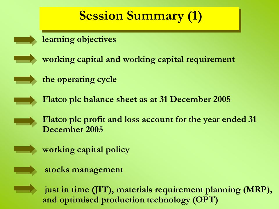 learning objectives working capital and working capital requirement the operating cycle Flatco plc balance sheet as at 31 December 2005 Flatco plc pro