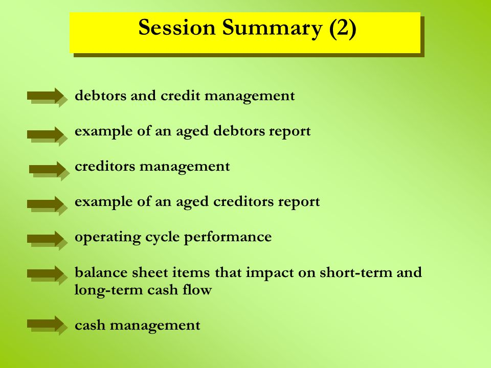 debtors and credit management example of an aged debtors report creditors management example of an aged creditors report operating cycle performance b