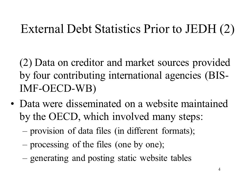 5 The JEDH Brings the two sites under a single umbrella to facilitate the comparison of external debt data compiled by countries (national sources) with data available from creditor and market sources Facilitates the exchange of the data – updates to the website and extractions from the website – by using the SDMX standards