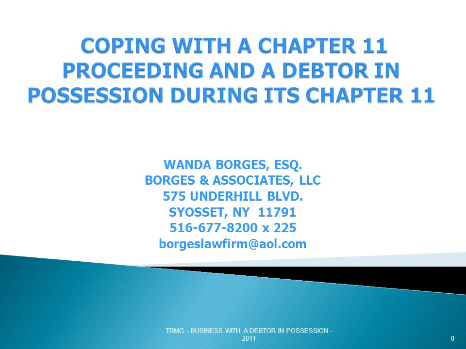 TRMG - BUSINESS WITH A DEBTOR IN POSSESSION - 2011 SELLING TO A CHAPTER 11 DEBTOR CAVEAT!!!!!.
