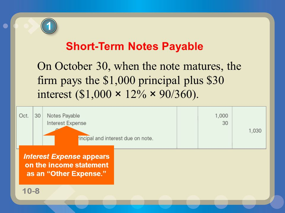 10-8 On October 30, when the note matures, the firm pays the $1,000 principal plus $30 interest ($1,000 × 12% × 90/360).