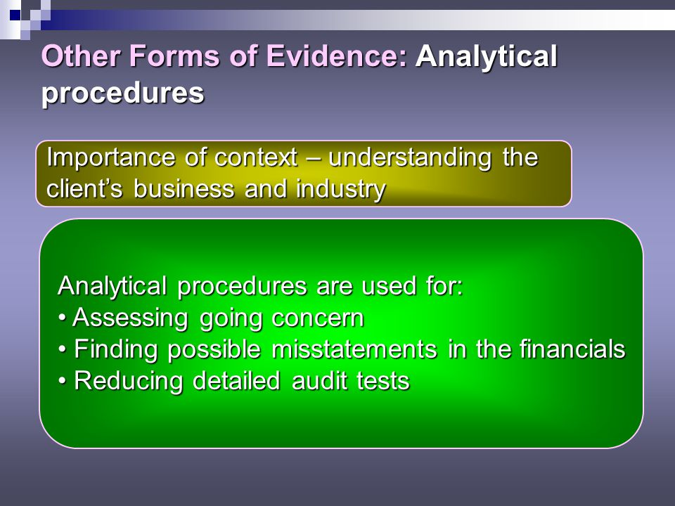 Other Forms of Evidence: Analytical procedures Importance of context – understanding the client's business and industry Analytical procedures are used for: Assessing going concern Assessing going concern Finding possible misstatements in the financials Finding possible misstatements in the financials Reducing detailed audit tests Reducing detailed audit tests
