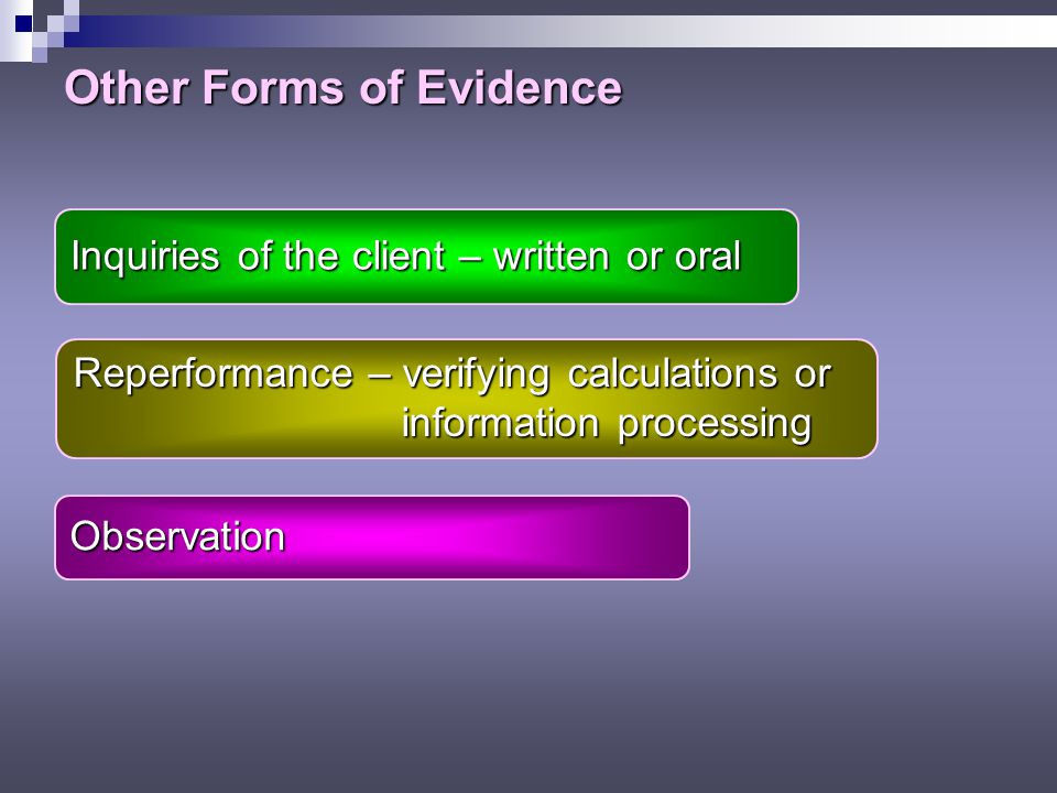 Other Forms of Evidence Inquiries of the client – written or oral Reperformance – verifying calculations or information processing information processing Observation