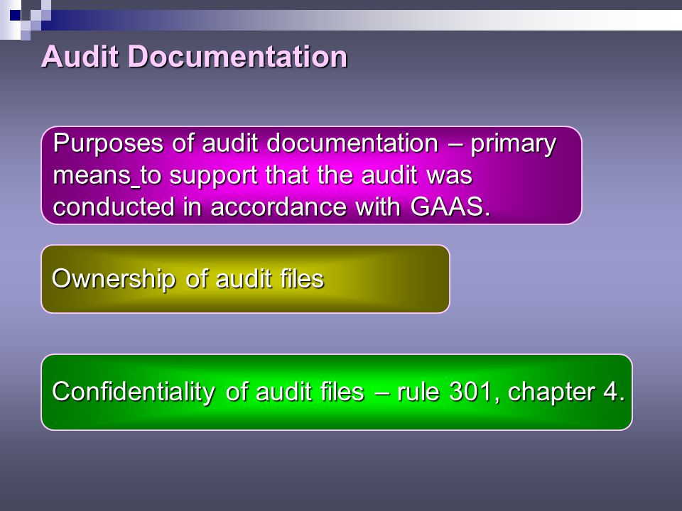 Audit Documentation Purposes of audit documentation – primary means to support that the audit was conducted in accordance with GAAS.