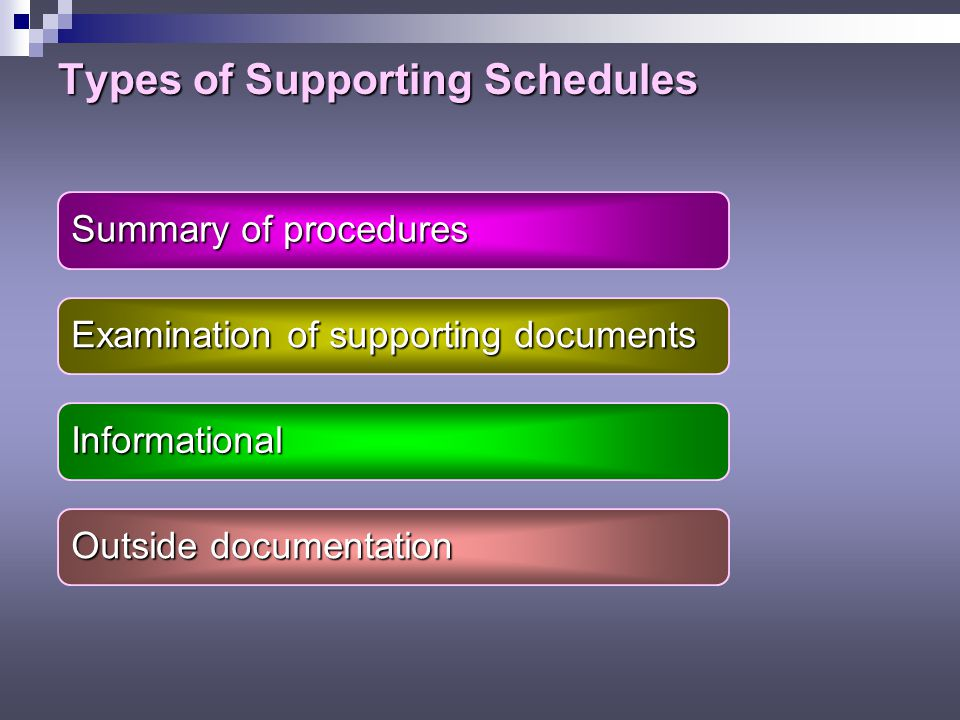 Types of Supporting Schedules Summary of procedures Examination of supporting documents Informational Outside documentation