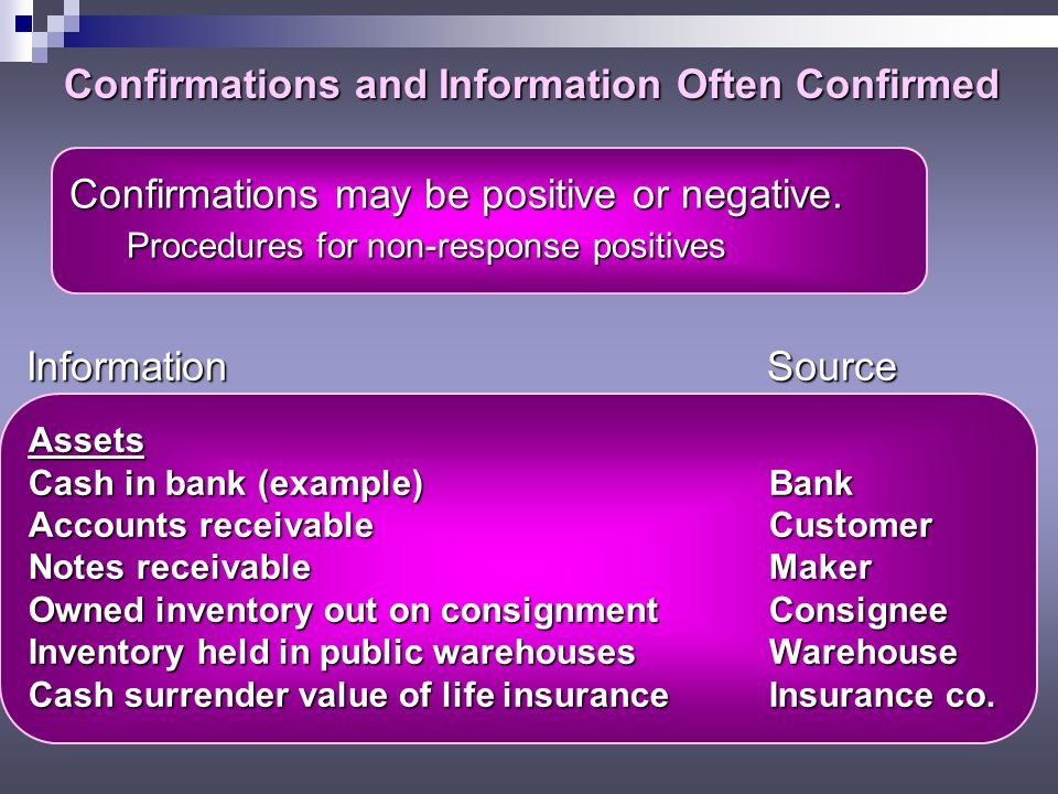 Confirmations and Information Often Confirmed Assets Cash in bank (example)Bank Accounts receivableCustomer Notes receivableMaker Owned inventory out on consignmentConsignee Inventory held in public warehousesWarehouse Cash surrender value of life insuranceInsurance co.