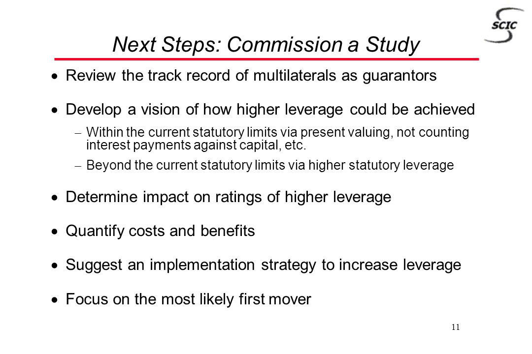 11 Next Steps: Commission a Study  Review the track record of multilaterals as guarantors  Develop a vision of how higher leverage could be achieved