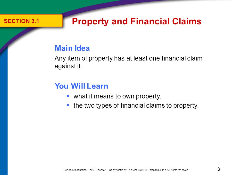3 Glencoe Accounting Unit 2 Chapter 3 Copyright © by The McGraw-Hill Companies, Inc. All rights reserved. Main Idea Any item of property has at least