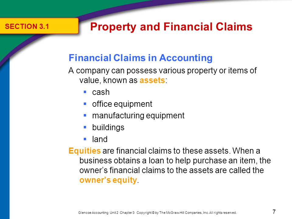 7 Glencoe Accounting Unit 2 Chapter 3 Copyright © by The McGraw-Hill Companies, Inc. All rights reserved. Financial Claims in Accounting A company can