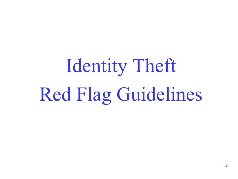 19 Identity Theft Red Flag Guidelines