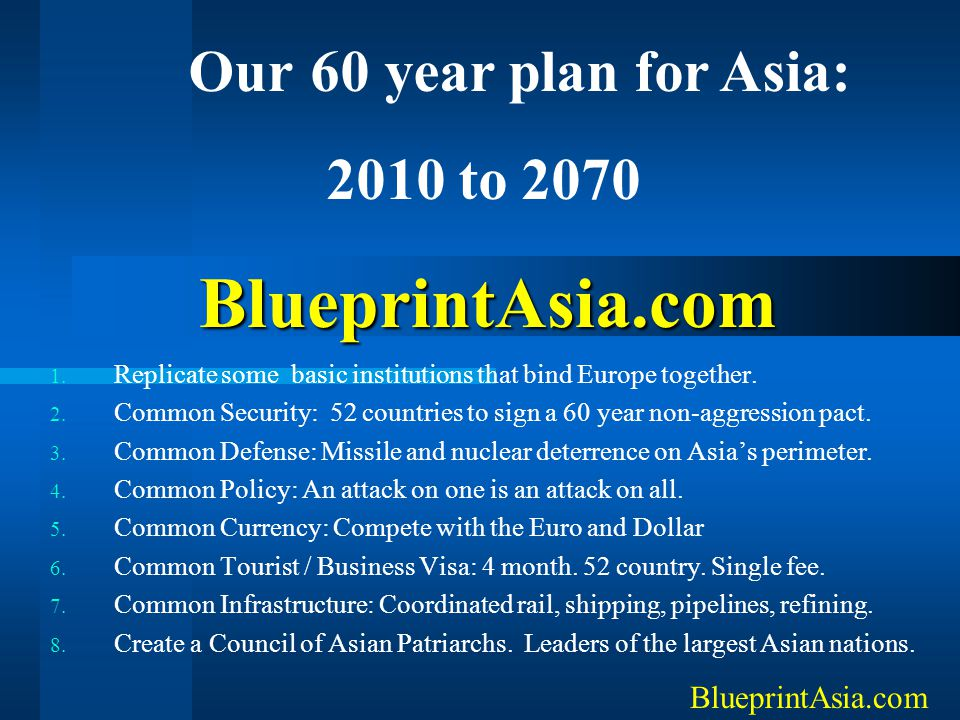 BlueprintAsia.com 1. Replicate some basic institutions that bind Europe together. 2. Common Security: 52 countries to sign a 60 year non-aggression pa