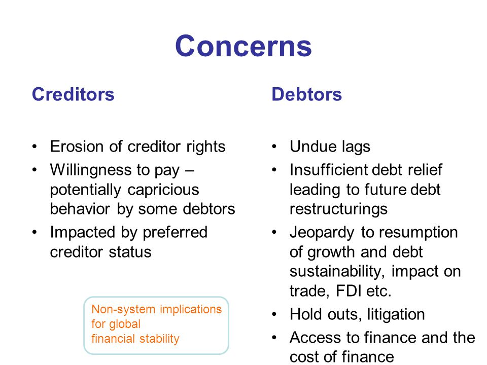 Concerns Creditors Erosion of creditor rights Willingness to pay – potentially capricious behavior by some debtors Impacted by preferred creditor stat