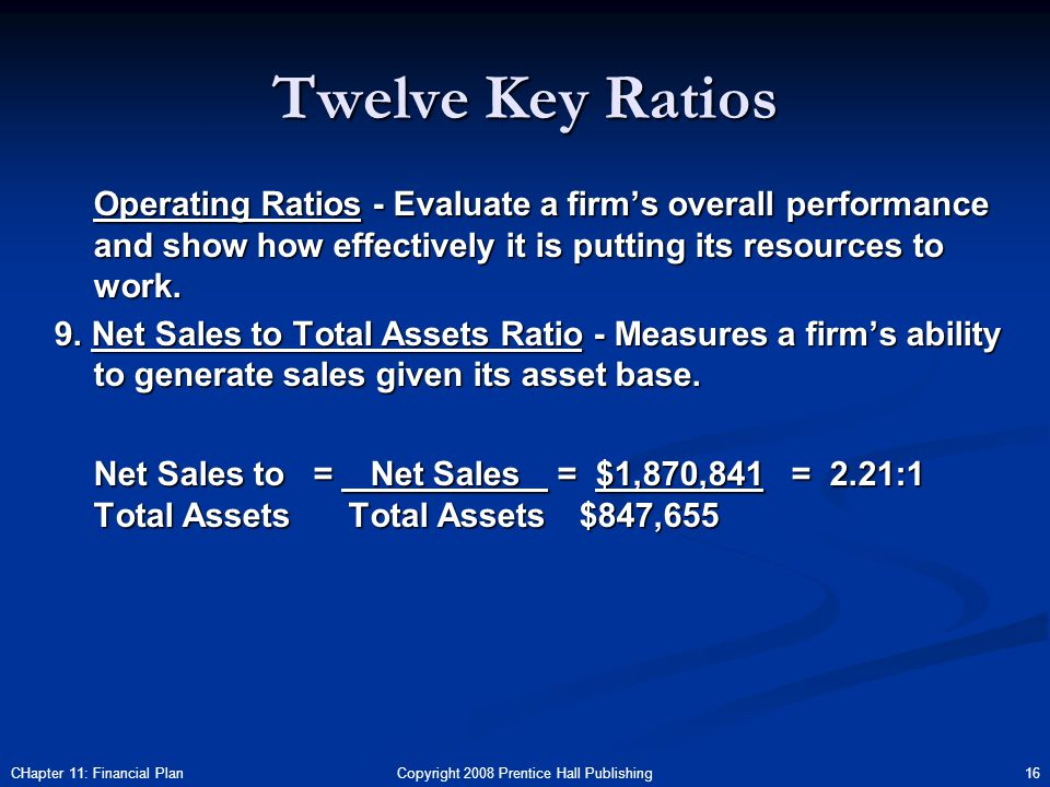 Copyright 2008 Prentice Hall Publishing 16CHapter 11: Financial Plan Twelve Key Ratios Operating Ratios - Evaluate a firm's overall performance and show how effectively it is putting its resources to work.