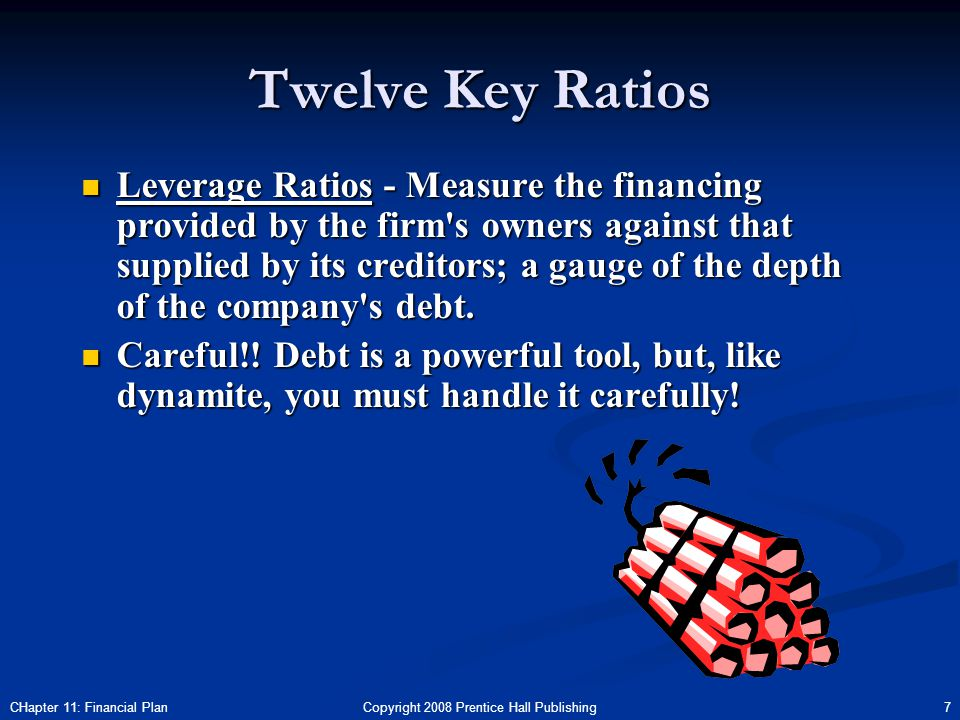 Copyright 2008 Prentice Hall Publishing 7CHapter 11: Financial Plan Twelve Key Ratios Leverage Ratios - Measure the financing provided by the firm s owners against that supplied by its creditors; a gauge of the depth of the company s debt.