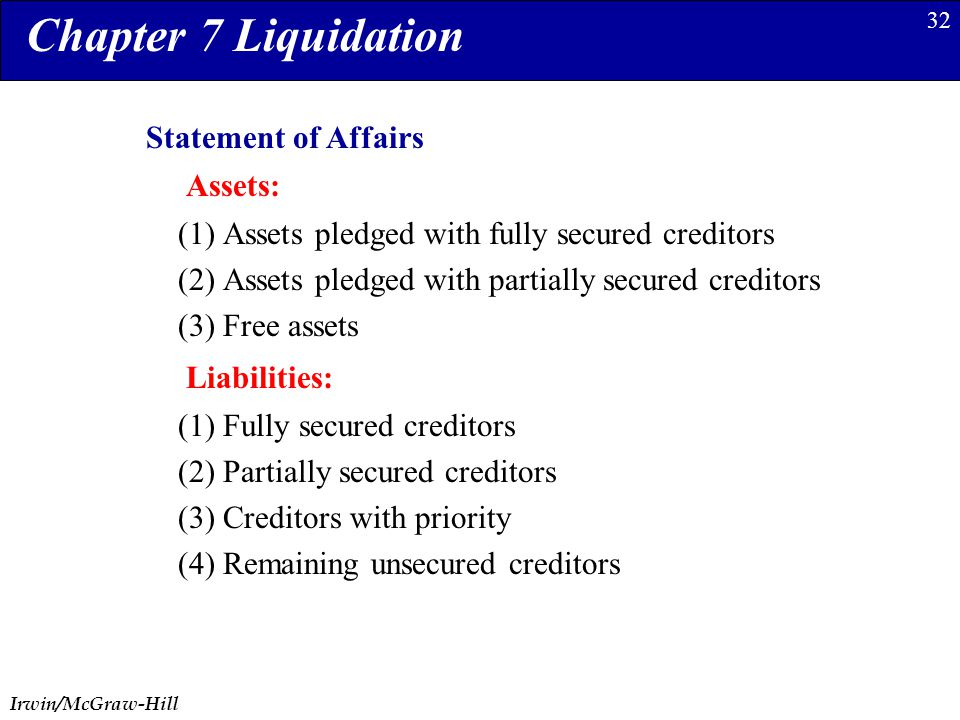 Irwin/McGraw-Hill 32 (1) Assets pledged with fully secured creditors (2) Assets pledged with partially secured creditors (3) Free assets Chapter 7 Liq