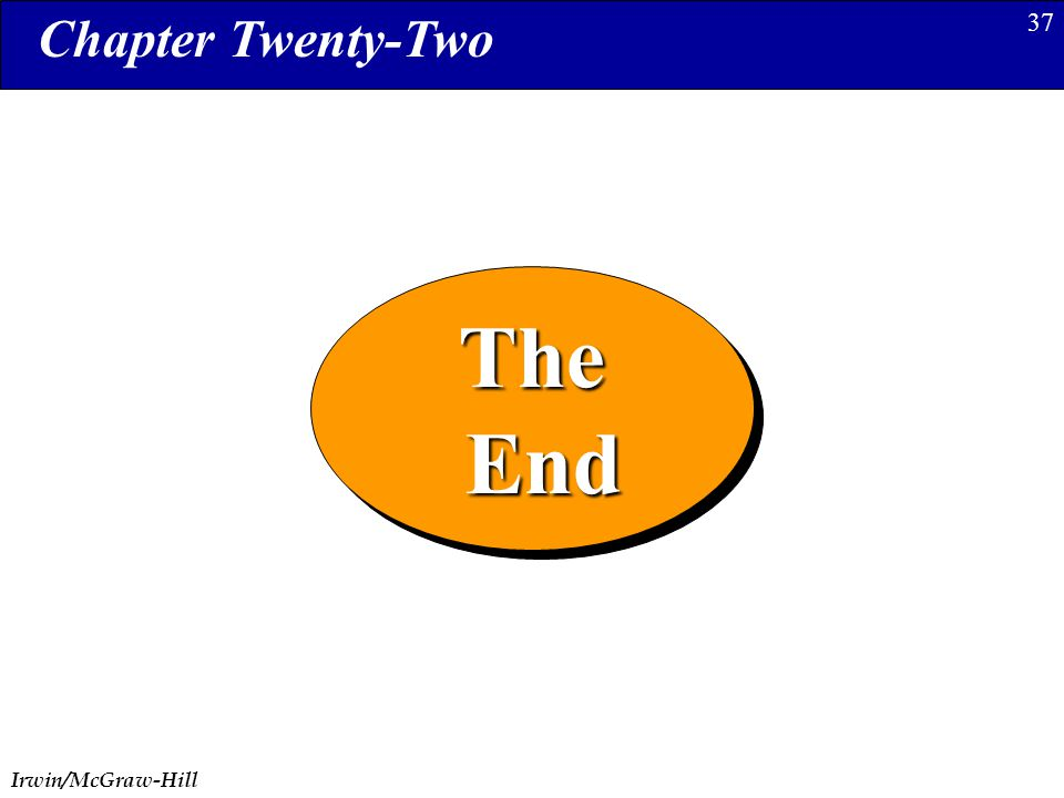 Irwin/McGraw-Hill 37The End EndThe Chapter Twenty-Two