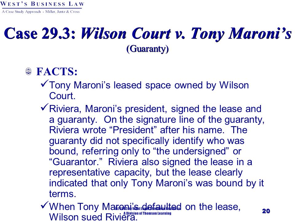 20 Case 29.3: Wilson Court v.