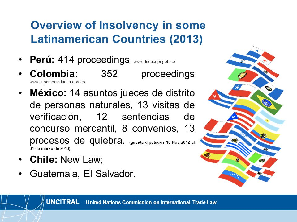 UNCITRAL United Nations Commission on International Trade Law Overview of Insolvency in some Latinamerican Countries (2013) Perú: 414 proceedings www.