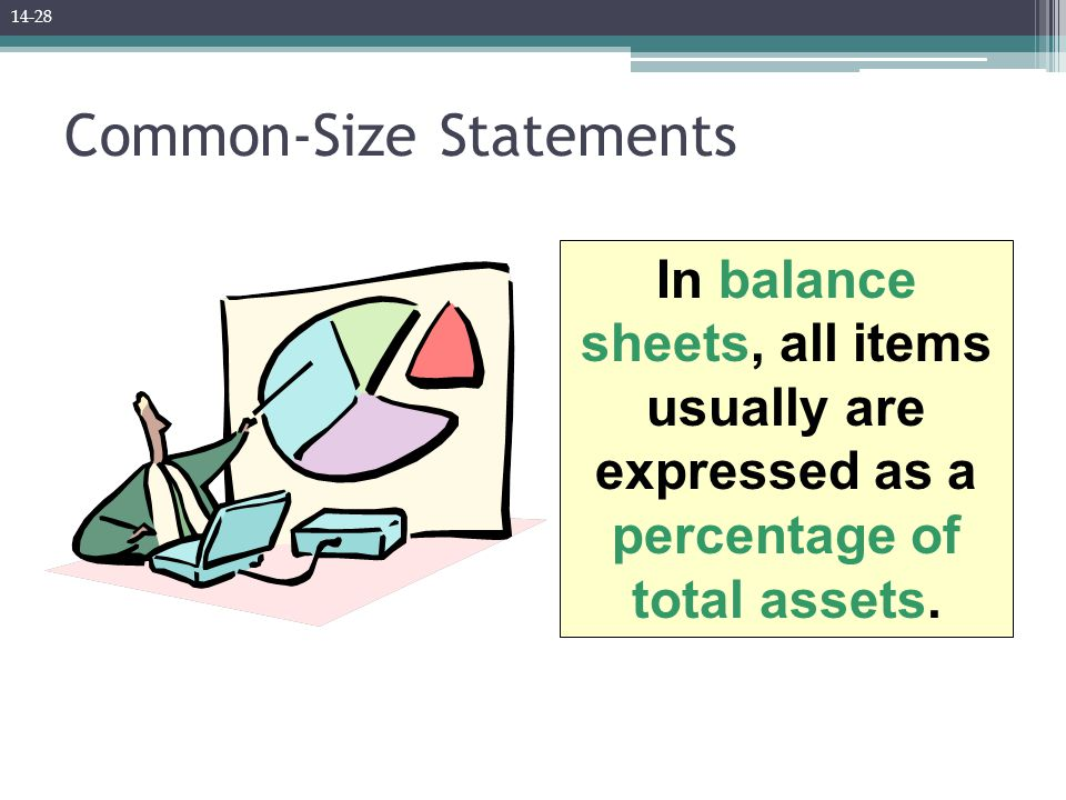 Common-Size Statements In balance sheets, all items usually are expressed as a percentage of total assets.