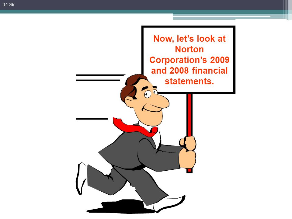 Now, let's look at Norton Corporation's 2009 and 2008 financial statements. 14-36