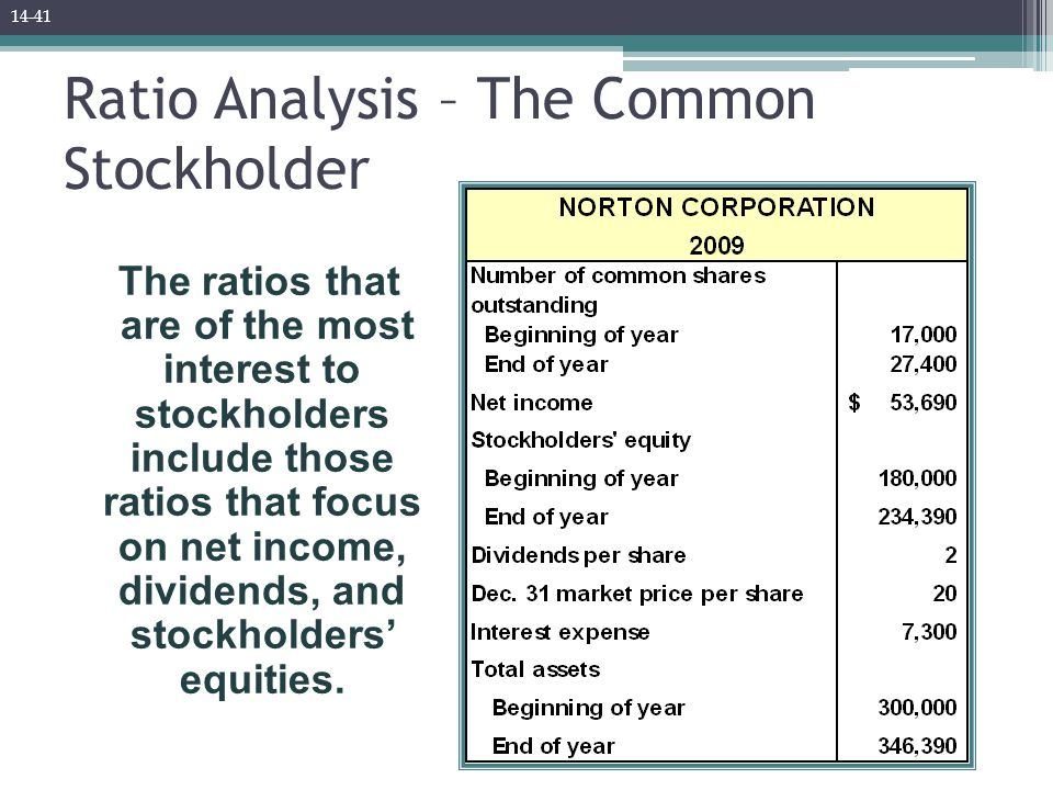 Ratio Analysis – The Common Stockholder The ratios that are of the most interest to stockholders include those ratios that focus on net income, dividends, and stockholders' equities.