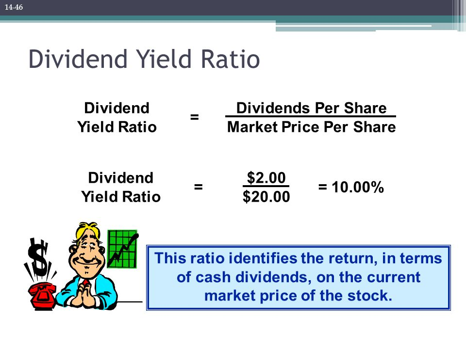 Dividend Yield Ratio Dividend Yield Ratio Dividends Per Share Market Price Per Share = Dividend Yield Ratio $2.00 $20.00 == 10.00% This ratio identifies the return, in terms of cash dividends, on the current market price of the stock.
