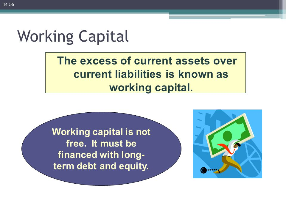Working Capital The excess of current assets over current liabilities is known as working capital. Working capital is not free. It must be financed wi