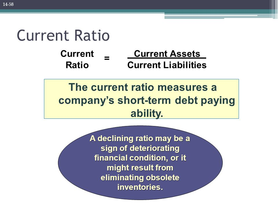 Current Ratio The current ratio measures a company's short-term debt paying ability.