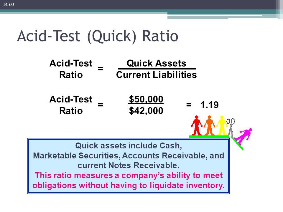 Acid-Test (Quick) Ratio Quick Assets Current Liabilities = Acid-Test Ratio Quick assets include Cash, Marketable Securities, Accounts Receivable, and current Notes Receivable.