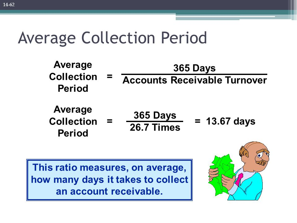 Average Collection Period = 365 Days Accounts Receivable Turnover This ratio measures, on average, how many days it takes to collect an account receiv