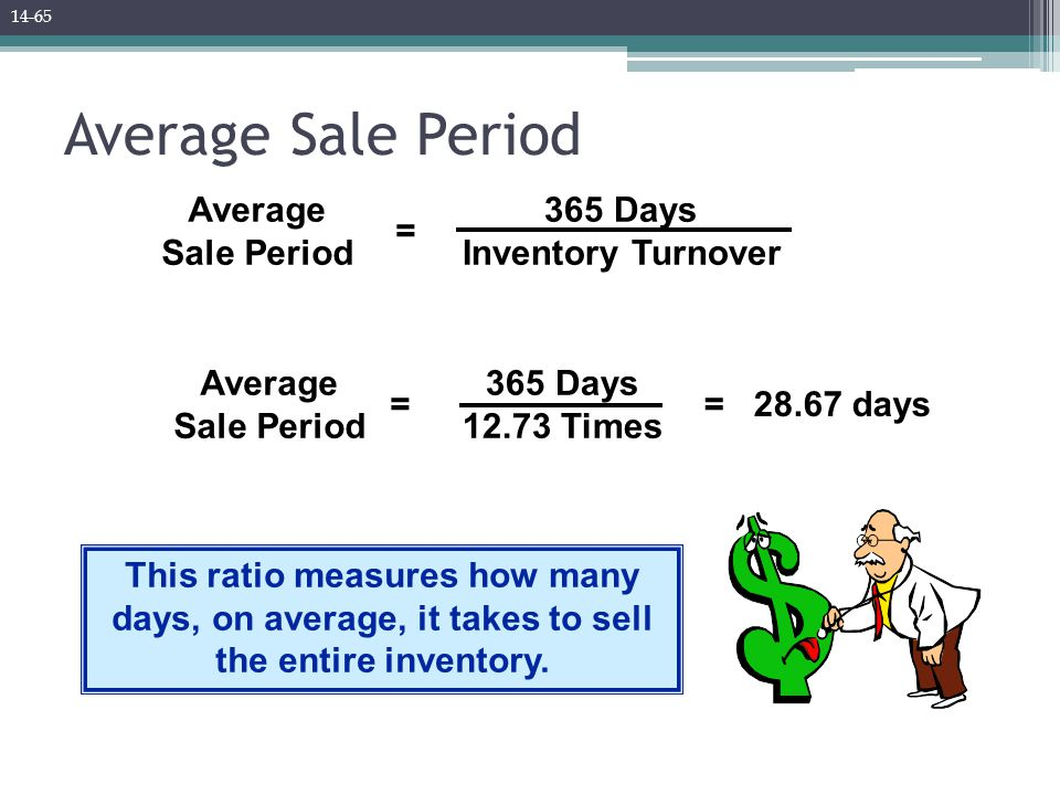 Average Sale Period = 365 Days Inventory Turnover This ratio measures how many days, on average, it takes to sell the entire inventory. = 28.67 days A