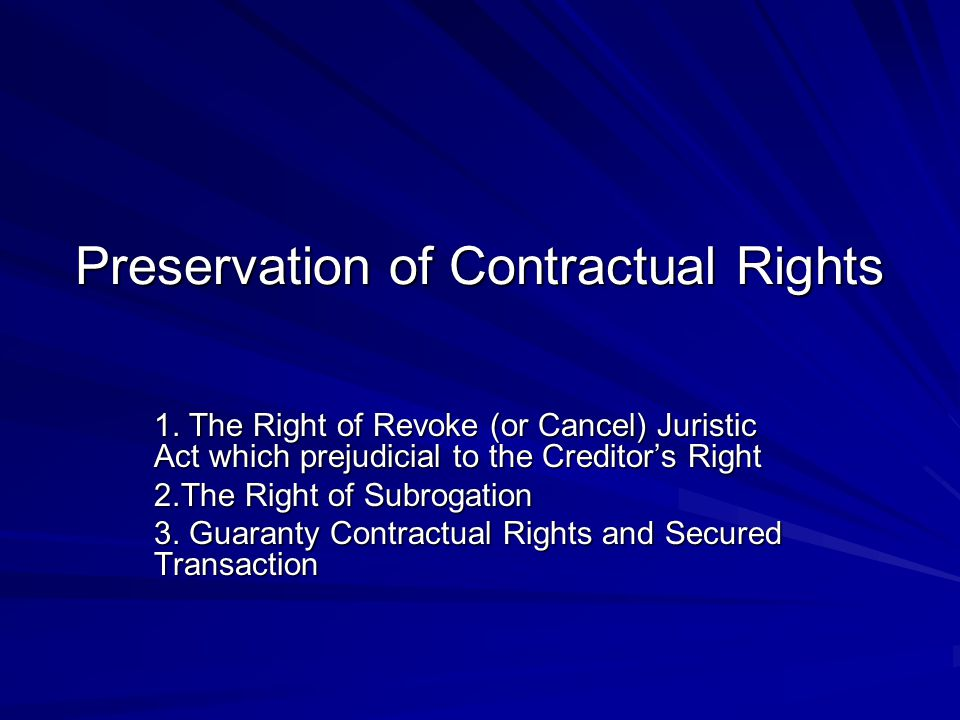 The Accomplishment of the Creditor's Right What is a liability.