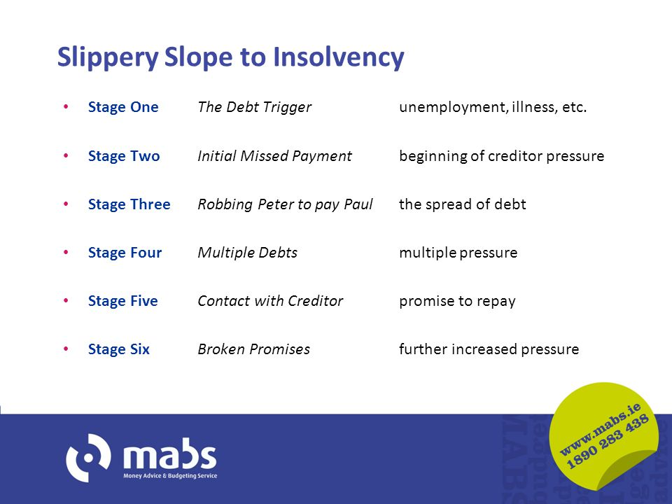 Slippery Slope to Insolvency Stage One The Debt Trigger unemployment, illness, etc.
