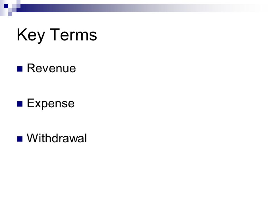 Key Terms Revenue Expense Withdrawal