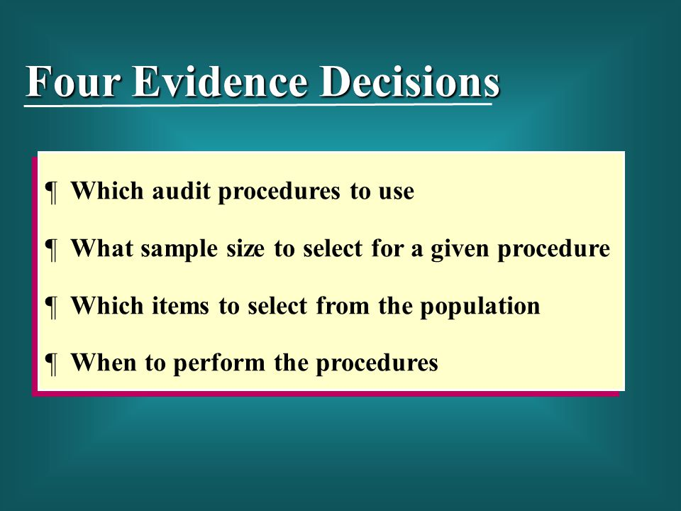 ¶ Which audit procedures to use ¶ What sample size to select for a given procedure ¶ Which items to select from the population ¶ When to perform the p